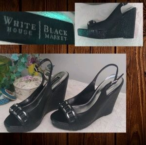 White House Black Market Black Leather Wedges